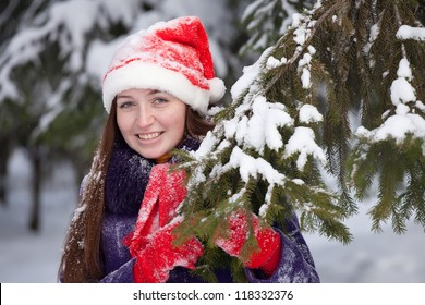 Christmas  portrait of  woman in winter park