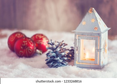 Christmas postcard with lantern and decorations