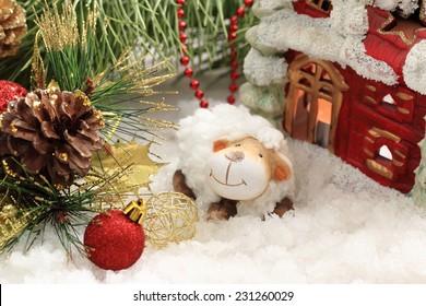 Christmas postcard with New Year sheep