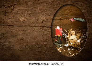 Christmas postcards, Child Jesus and empty space to write message or put photos on rustic background
