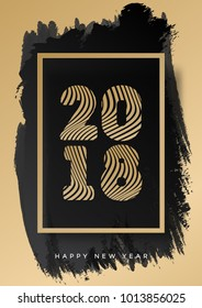 Christmas poster 2018 gold style happy new year on watercolor background for decoration, flyer, web, promotion, christmas sale, invitation, calendar, card, banner.