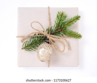 Christmas present with old christmas decorations isolated over white