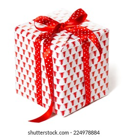 Christmas present over white background