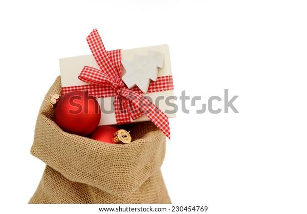 Christmas present and Santa bag