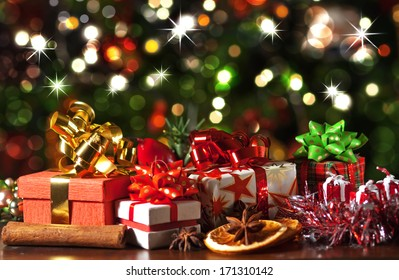 Christmas Presents.Gifts Under The Tree Images Stock Photos Vectors
