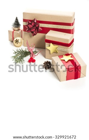 christmas presents with decoration on white background