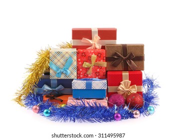 Christmas presents. gift box with ribbons isolated on white background
