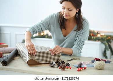 Christmas presents. Gift wrapping process