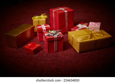 Christmas presents in giftboxes