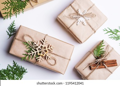 Christmas presents, holiday preparation, New Year party, celebration concept. Festive decorated gift boxes on white background, flat lay