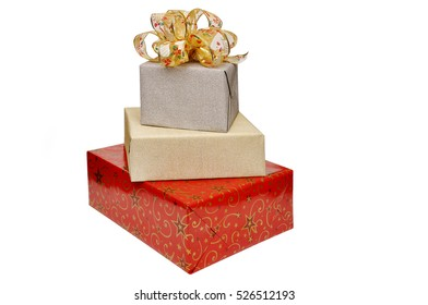 Christmas presents isolated against a white background. Christmas gifts.