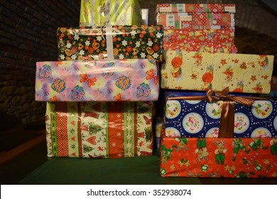 Christmas presents, made by people, in shoe boxes, for the poor and unfortunate.
