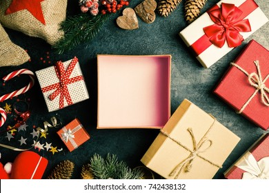 Christmas presents on dark background