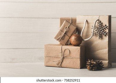 Christmas presents on white background.