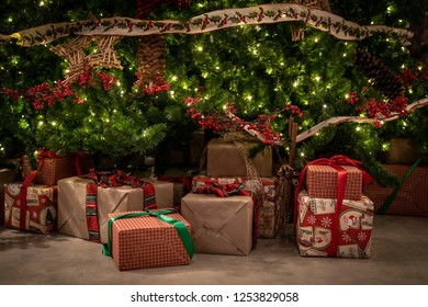 Christmas Presents under a Beautifully Decorated Tree