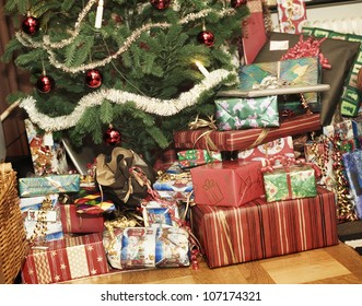 Christmas presents under the Christmas tree, Sweden.