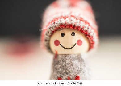 Christmas puppet dressed with winter clothes