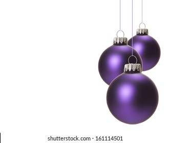christmas, purple christmas balls isolated hanging with white background