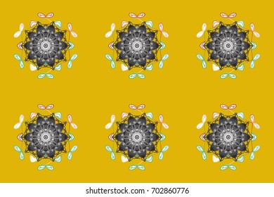 Christmas raster pattern with holidays decorations. Raster christmas abstract colorful background with falling snowflake.