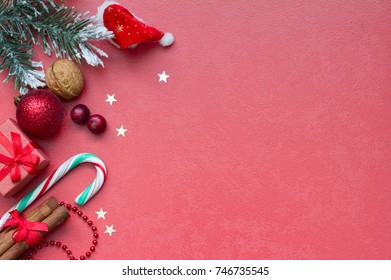 Christmas red abstract background and supplies