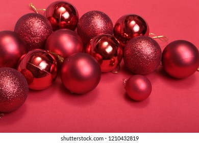 Christmas red balls isolated on silver background