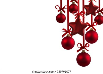 Christmas red balls with ribbons isolated on the white background