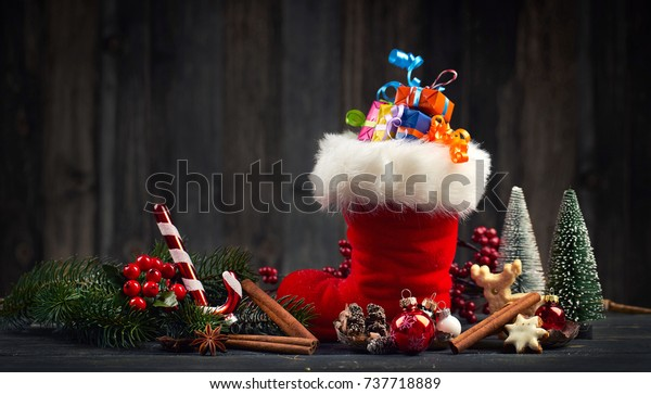Christmas red boot, santa boot with gifts