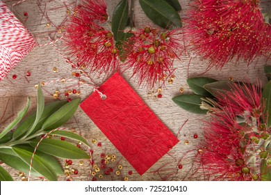 Christmas Red flower rustic flat lay