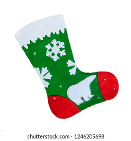 Christmas red and green sock with decorations on a white background.Isolated