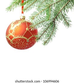Christmas red luxury ball isolated and branch of tree