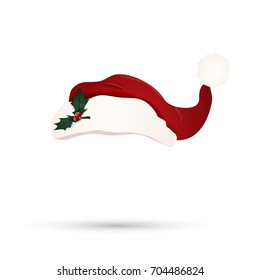 Christmas Red santa hat with Holly berry leaves isolated.  illustration.