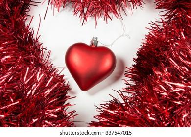 Christmas Red Tinsel and Balls