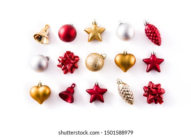 Christmas red,silver and golden decorations pattern isolated on white background