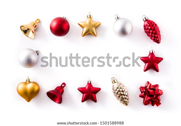 Christmas red,silver and golden decorations pattern isolated on white background. Copy space