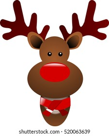 Christmas reindeer with a scarf on a white background