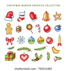 Christmas related marker graphics illustration in high resolution. Colorful design elements for greeting cards, holiday decoration, prints, posters, patterns.