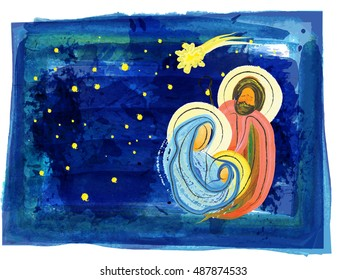 Christmas religious nativity scene, Holy family abstract watercolor illustration Mary Joseph and Jesus in the starry night with copy space for text