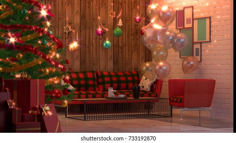 christmas room decoration 3D rendering  and christmas tree decoration background