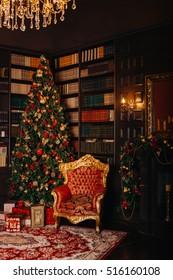 Christmas room with fir