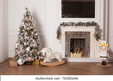 christmas room interior design xmas tree decorated by lights resents gifts toys candles copy space holiday concept