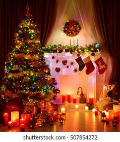 Christmas Room and Lighting Xmas Tree, Hanging Socks on Fireplace, Eve Magic Night Interior