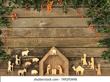 christmas rustic background with nativity