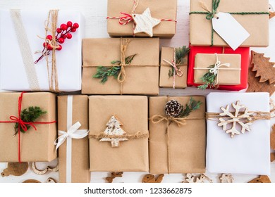 Christmas rustic present gift boxes collection with tag for Merry Christmas and New year holiday. View from above. top view composition design.