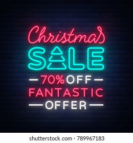 Christmas sale card template in neon style, isolated illustration. Bright advertising of Christmas discounts for shops. Holiday discounts sale, broochure, glowing neon sign.