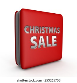 Christmas sale square icon on white background