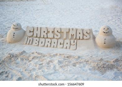Christmas sand castle on Boracay, Philippines
