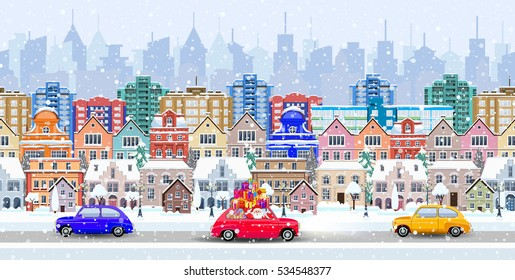 Christmas Santa Claus driving on car with giftbox on winter city street. seamless border panorama with a winter cityscape. illustration Raster version