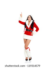 christmas santa girl happy smile, woman wear Santa Clause costume point finger up to empty copy space, new year party, full length isolated over white background