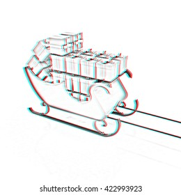 Christmas Santa sledge with gifts on a white background . Pencil drawing. 3D illustration. Anaglyph. View with red/cyan glasses to see in 3D.