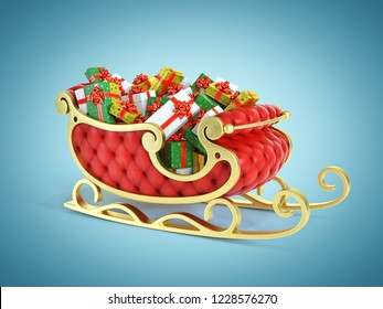 Christmas Santa sleigh full of gift boxes - red and golden sledge with presents